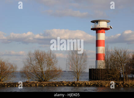 elbe, beacon, lighthouse, navigation, seafaring, striated, elbe, marking, - Stock Photo
