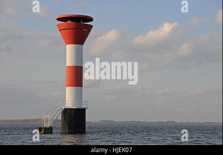 navigation, seafaring, elbe, beacon, lighthouse, river, water, stairs, tower, - Stock Photo