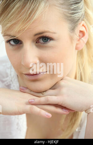 blank, european, caucasian, adult, comfort, chin, calm, adults, delighted, - Stock Photo