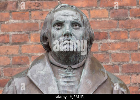 Bronze statue of the reformer Martin Luther in front of Luther church in Copenhagen, Denmark, January 21, 2017, - Stock Photo