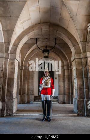 Life Guards Trooper stands guard at Horse Guards, London, England, UK - Stock Photo