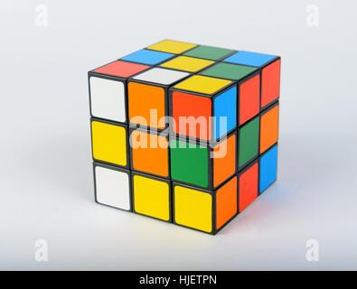 Rubik's cube cutout isolated on white background - Stock Photo