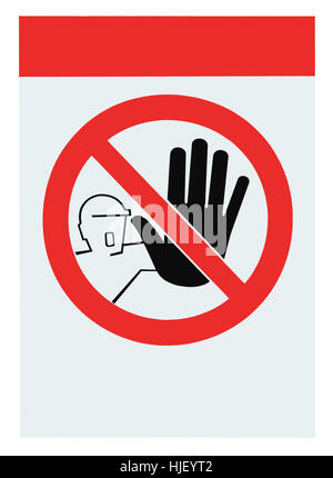 No access for unauthorized persons blank warning sign label, isolated vertical macro closeup - Stock Photo