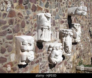 Magdeburg originals on city wall, sculptor Eberhard Roßdeutscher, Magdeburg, Saxony-Anhalt, Germany - Stock Photo