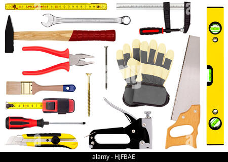 tools isolated on white - Stock Photo