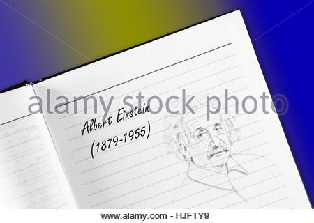 Albert Einstein, sketch in notebook - Stock Photo