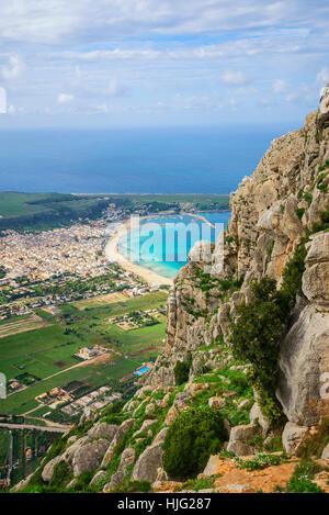 San Vito Lo Capo and monte Monaco, aerial view, Sicily, Italy - Stock Photo