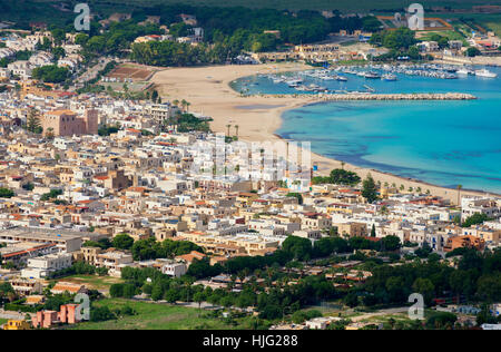 San Vito Lo Capo, aerial view, Sicily, Italy - Stock Photo