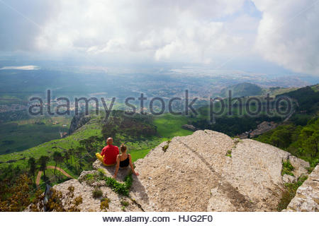 People enjoying views from Erice mountain, Erice, Sicily, Italy - Stock Photo
