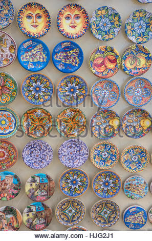 Traditional painted plates, Erice. Sicily, Italy - Stock Photo