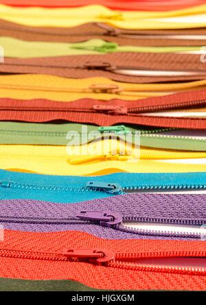 clothing, fabric, tailoring, zippers, zip, clothes, sale, clothing, fabric, - Stock Photo