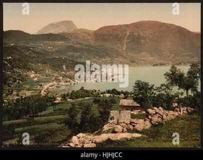 Ulvik Hardanger, Hardanger Fjord, Norway  - Photochrom XIXth century - Stock Photo