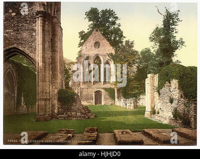 Valle Crucis Abbey, interior looking west, Llangollen, Wales  - Photochrom XIXth century - Stock Photo