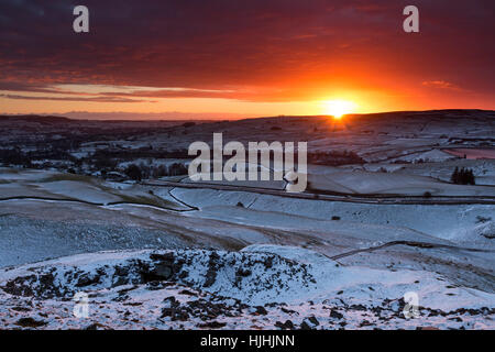 Sunrise from the Ancient Burial Mound of Kirkcarrion, Lunedale, Teesdale County Durham UK - Stock Photo
