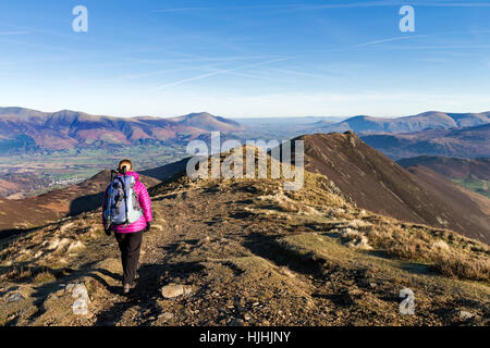 Walker Heading Towards Causey Pike from Scar Crags Lake District Cumbria UK - Stock Photo