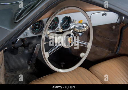 steering wheel and dashboard of a porsche 356 replica car by chesil stock photo royalty free. Black Bedroom Furniture Sets. Home Design Ideas