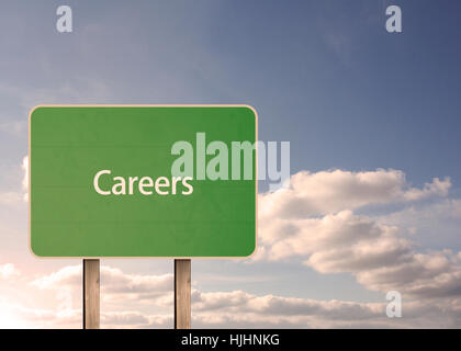 Careers road sign and clouds behind - Stock Photo