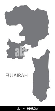 Fujairah United Arab Emirates Map in grey - Stock Photo