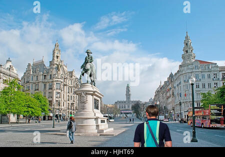 PORTO, PORTUGAL - APRIL 30, 2012: The ensemble of Liberdade (Freedom) Square with the Statue of King Peter IV, scenic - Stock Photo