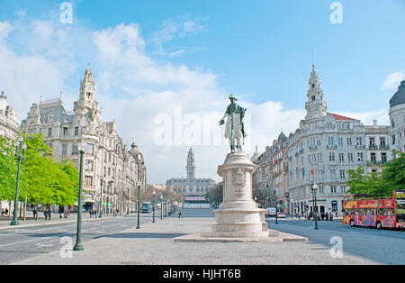 PORTO, PORTUGAL - APRIL 30, 2012: The Liberdade Square with the statue of King Peter IV, surrounded by splendid - Stock Photo