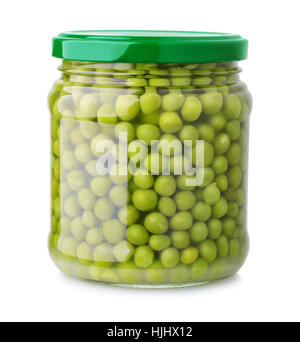 Glass jar of green peas isolated on white - Stock Photo