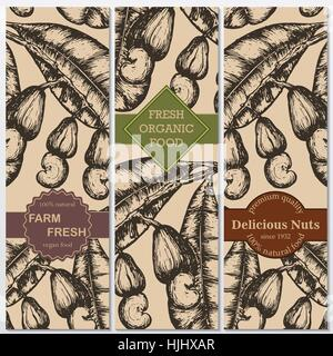 Vector hand drawn cashew banners. Engraved illustrations. Great food banner, flyer, poster - Stock Photo