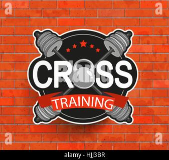 Retro styled crosstraining emblem, label, badg, logo and fitness gym designed elements for your projects, prints, - Stock Photo