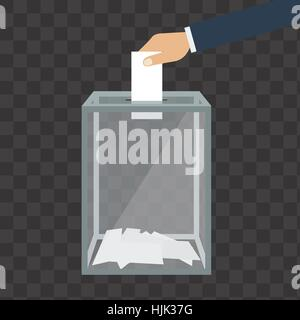 Voting, election concept. Vector illustration flat design style. Transparent glass box. Man holds in his hand bulletin, - Stock Photo