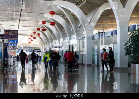Departure Hall at Yinchuan Hedong International Airport, Ningxia province, China - Stock Photo