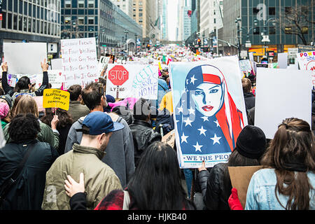 Protesters at the Women's march that took place in New York City on January 21st, 2017. - Stock Photo