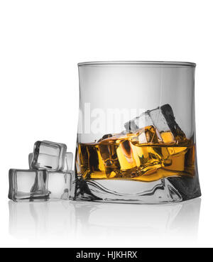 Glass of whiskey with ice and ice cubes isolated on white background - Stock Photo