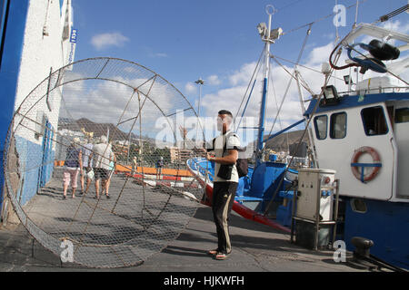 Spain. 24th Jan, 2017. Activity in the port of los cristianos. Fishermen arrives with tuna fish in the port of Los - Stock Photo