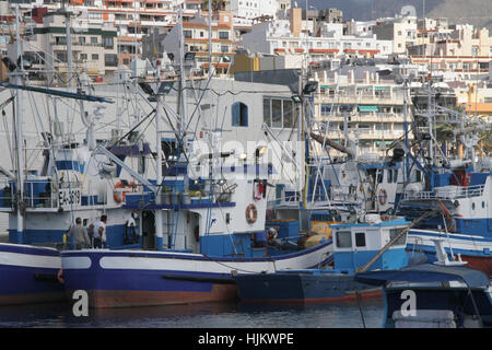 Spain. 24th Jan, 2017. The port of los cristianos. Fishermen arrives with tuna fish in the port of Los Cristianos - Stock Photo