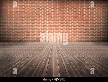 Empty room of floorboards with bricks wall - Stock Photo