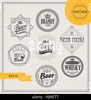 Vector alcohol logos and emblems in outline style. Set of Retro Vintage Insignias and Logotypes. Labels, Badges, - Stock Photo