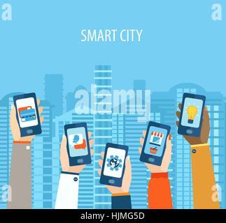 Vector illustration concept of hands holding smart-phones . Flat design modern vector illustration icons set of - Stock Photo