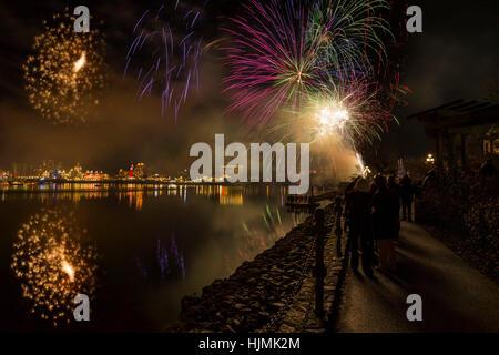 Canada's 150 Year birthday celebration fireworks on New Year's Eve2016-Victoria, British Columbia, Canada. - Stock Photo