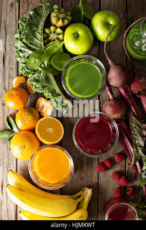 Variety of fresh vegetable and fruit juices - Stock Photo