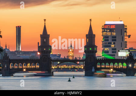 Oberbaum Bridge , sunset, Living Levels tower, River Spree, Aquarella - Stock Photo