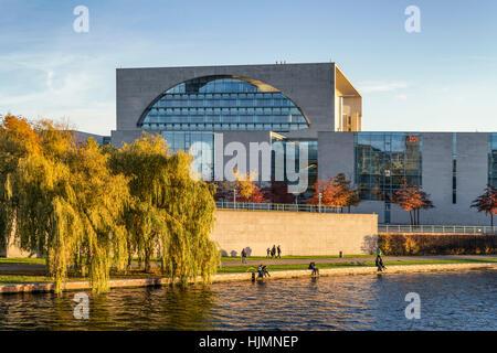 Bundeskanzleramt , federal chacellery, autumn, River Spree, Berlin, Germany - Stock Photo
