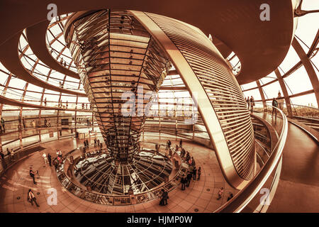 Reichstag buildling , cupola by Sir Norman Forster ,Berlin, - Stock Photo