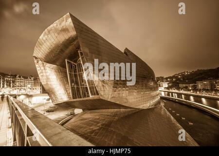 Panoramic View from La Salve Bridge, Guggenheim Museum , River Nervion, Bilbao , museum of modern and contemporary - Stock Photo