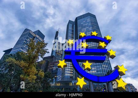 Germany, Hessen, Frankfurt-am-Main, Euro Tower, Euro Symbol, Willy Brandt Platz, skyline, Commerzbank, - Stock Photo