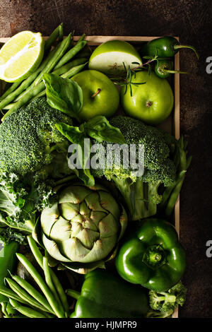 Variety of green vegetables and fruits - Stock Photo