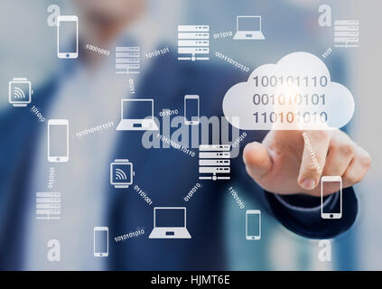 Data transmission and cloud computing concept with a network of servers, computers and devices exchanging binary - Stock Photo