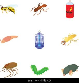 Insects icons set. Cartoon illustration of 9 insects vector icons for web - Stock Photo