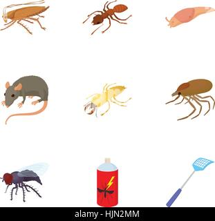 Pests of homes icons set. Cartoon illustration of 9 pests of homes vector icons for web - Stock Photo