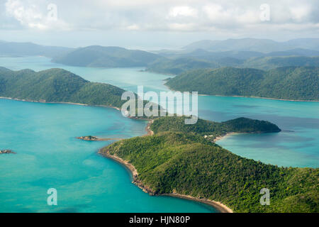 Aerial view of the Whitsunday Islands, taken from a light aircraft scenic flight, Queensland Australia - Stock Photo