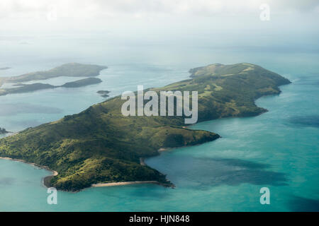 Aerial view of the South Molle in the Whitsunday Islands, taken from a light aircraft scenic flight, Queensland - Stock Photo