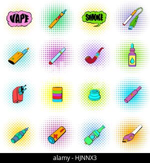 E-cigarettes icons set in comics style isolated on white - Stock Photo